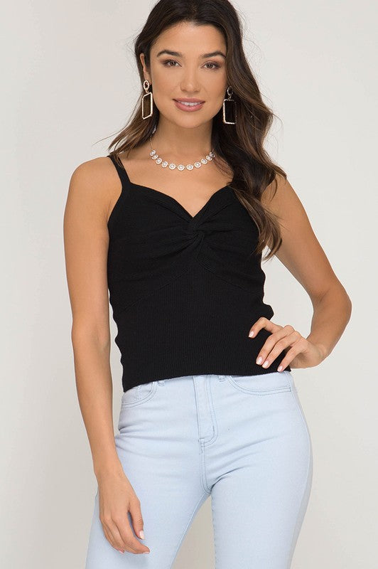 Veronica Front Twist Cami In Black