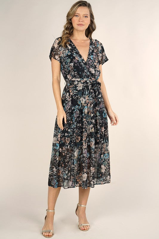 Liana Belted Floral Midi Dress