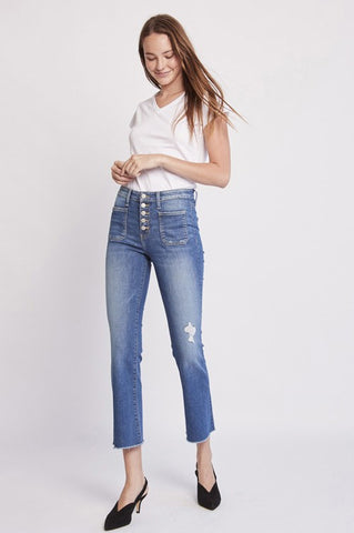 High Rise Crop Flare Jeans
