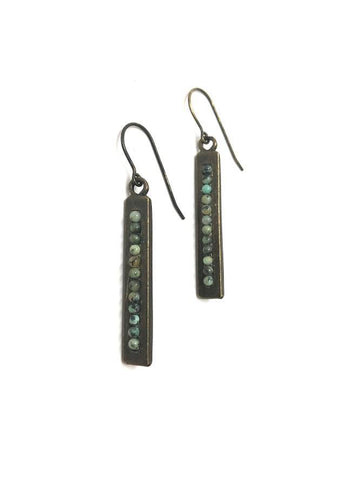 Rebel Designs Rectangular Bar Drop Earring With African Turquoise