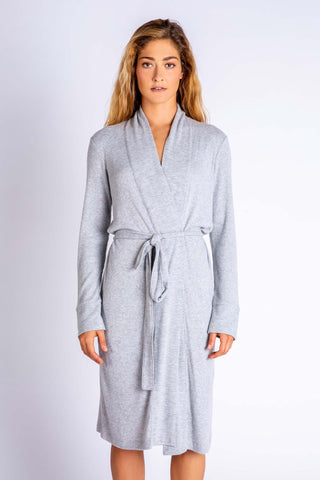 Textured Basic Robe, Heather Grey