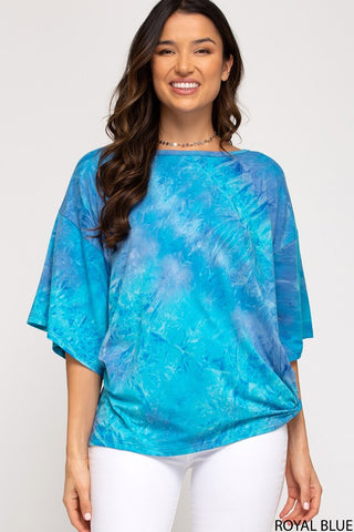 Jenny Oversized Tie-Dye Top, Royal Blue