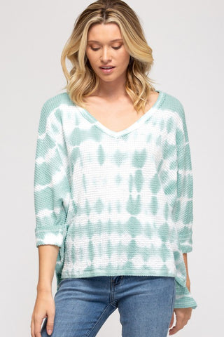 Sophie Thermal Tie-Dye Top, Seafoam