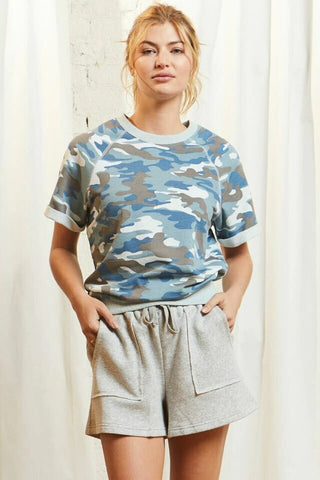 Addy Short Sleeve Sweatshirt, Slate Blue Camo