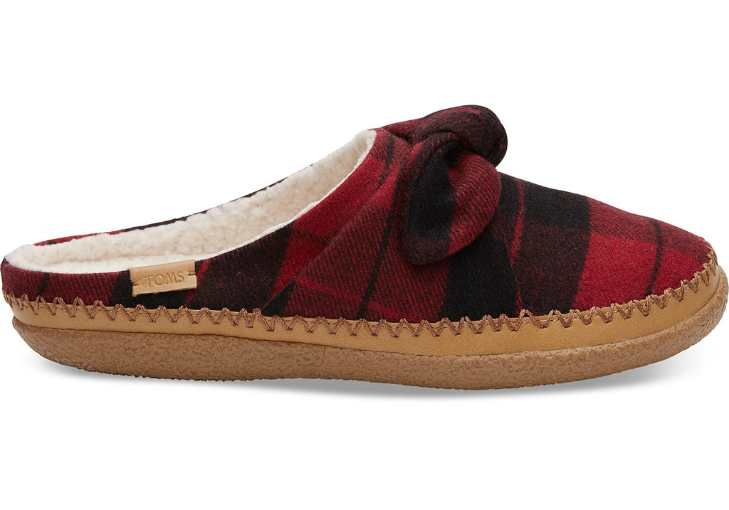 Women's Red Plaid Felt Bow Women's Ivy Slippers