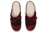 TOMS Ivy Slippers In Red Plaid Felt