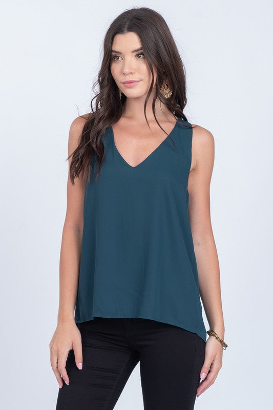 Louisa Back Pleated Top in Pine