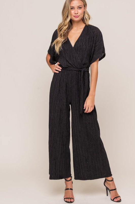 Paulina Plisse Surplice Jumpsuit in Black