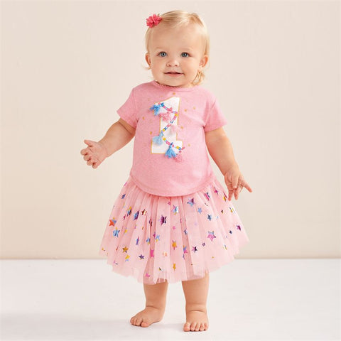 "Pink ""1st Birthday"" Tulle Skirt Set"