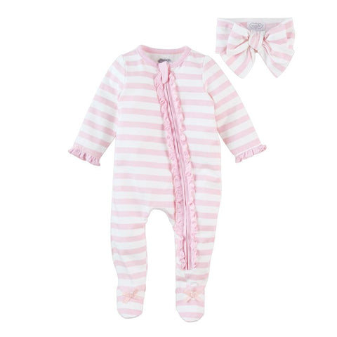Pink Striped Ruffle Sleeper With Headband