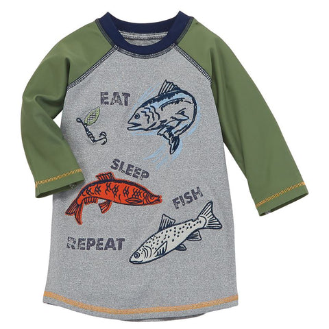 """Eat Sleep Fish Repeat"" Rash Guard Top"
