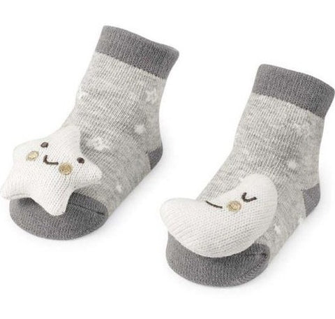 Moon & Star Rattle Toe Socks