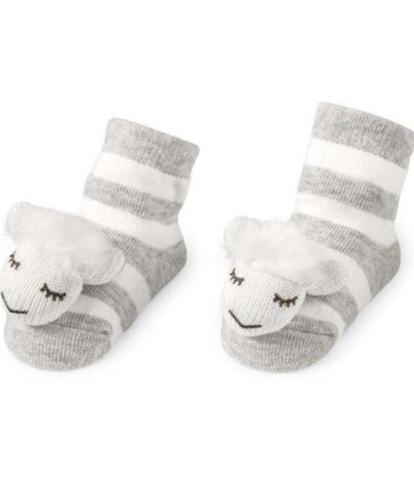 Sheep Rattle Toe Socks In Grey
