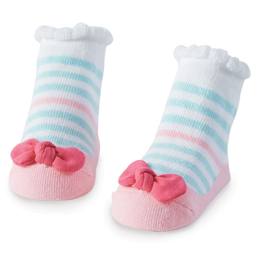 Blue Striped Bow Socks
