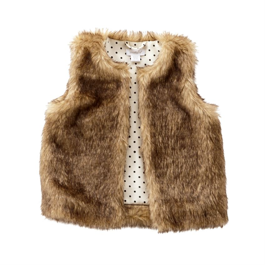 Kids Brown Faux Fur Vest