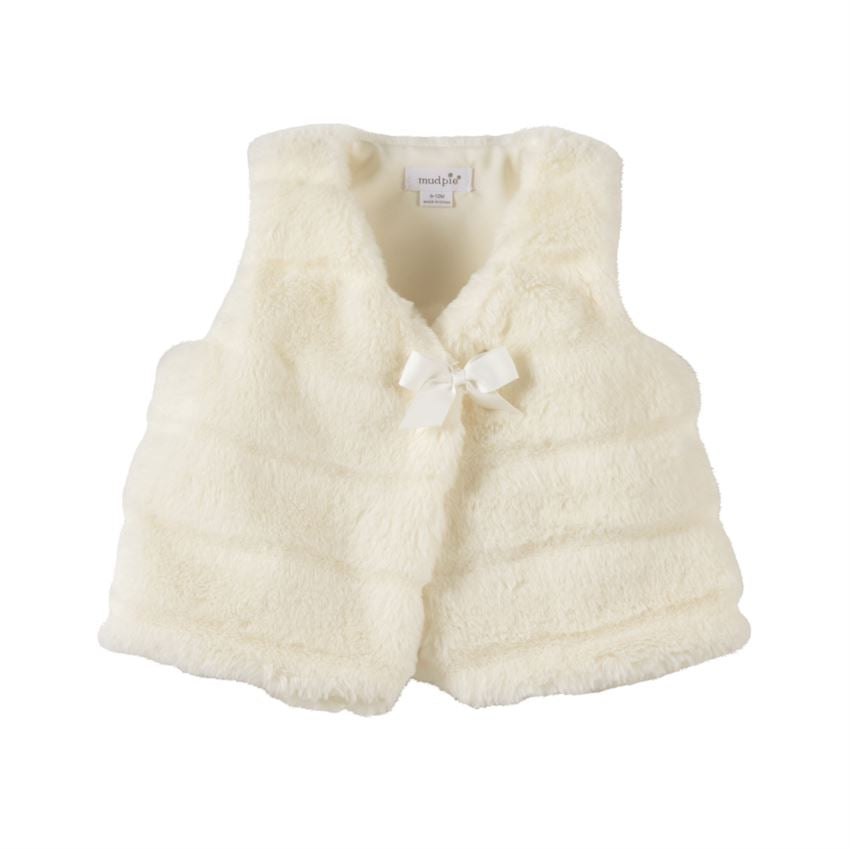 Ivory Faux Fur Infant Vest