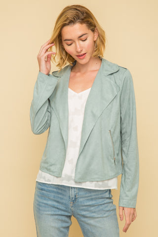 Leesa Moto Jacket In Mint