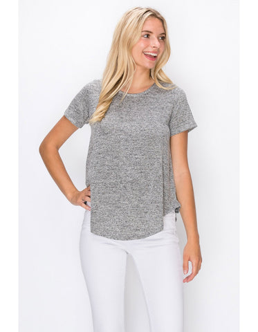Sela Curved Hem Top, Heather Grey