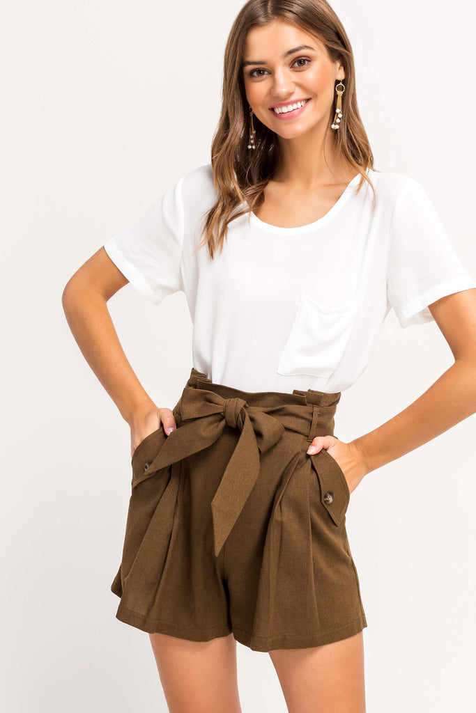 Lilly Highwaisted Paperbag Shorts In Walnut