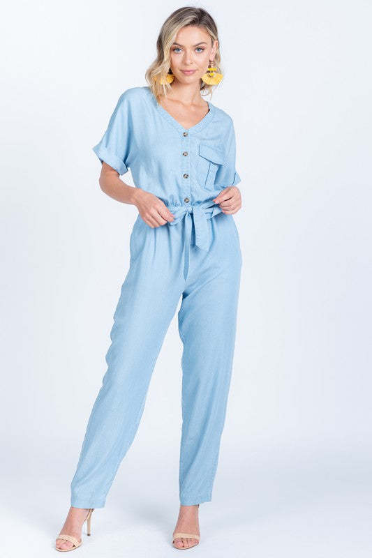 June Utility Jumpsuit, Chambray