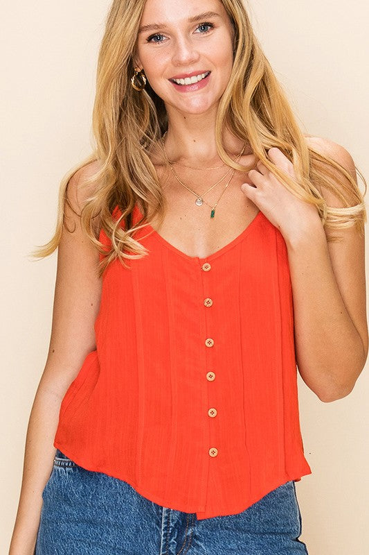 Brie Button Front Tank In Tomato