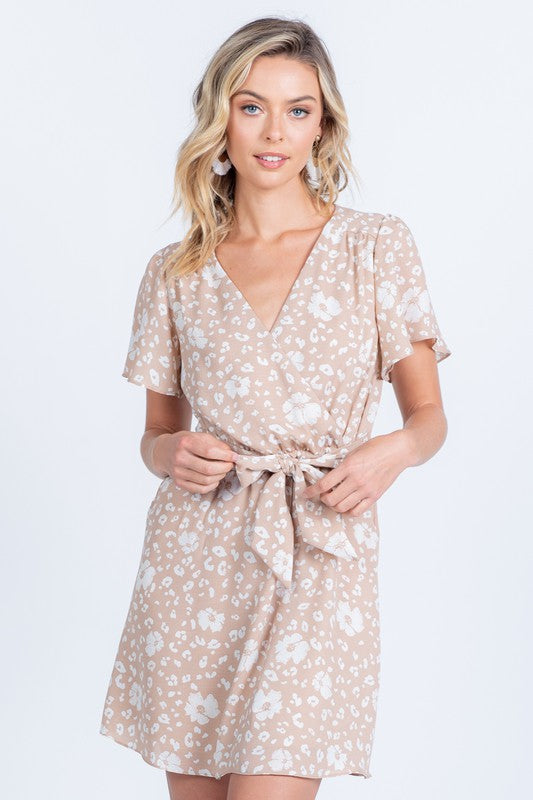 Shana Print Mini Dress, Taupe