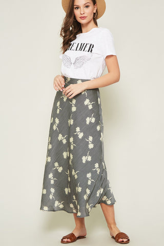 Yasmine Striped Floral Print Midi Skirt