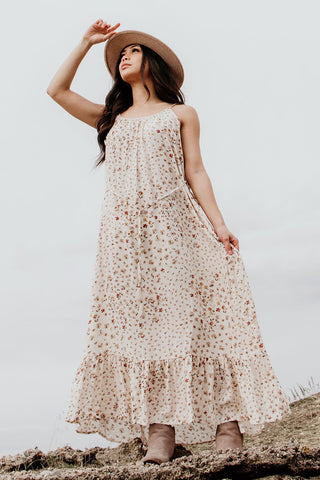 Anne Vintage Floral Maxi Dress, Brick/Natural