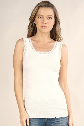Kim Lace Trim Knit Cami, White