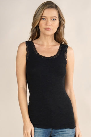 Kim Lace Trim Knit Cami, Black