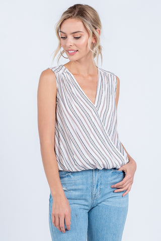 Jonique Surplice Striped Top