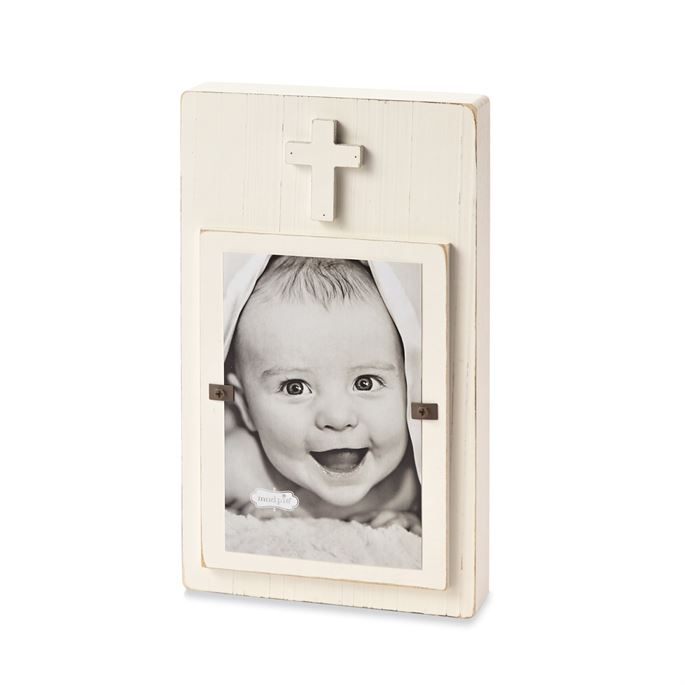 White Distressed Wood Cross Picture Frame