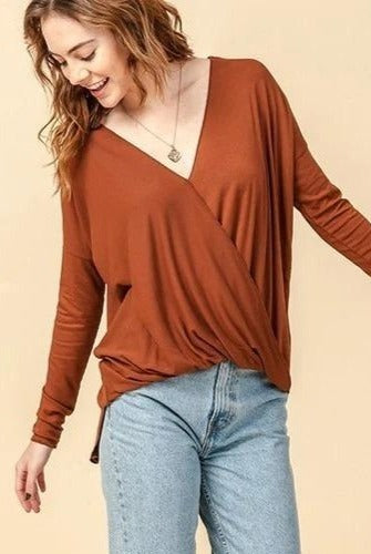 Gracie Surplice V-Neck Top, Hazelnut