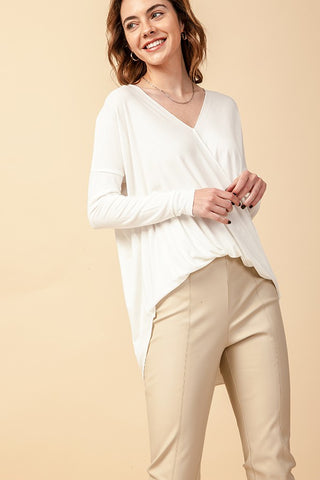 Gracie Surplice V-Neck Top, Off White