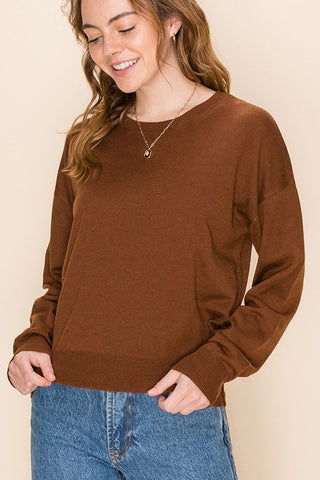 Lorna Cashmere Blend Crewneck Sweater, Hazelnut