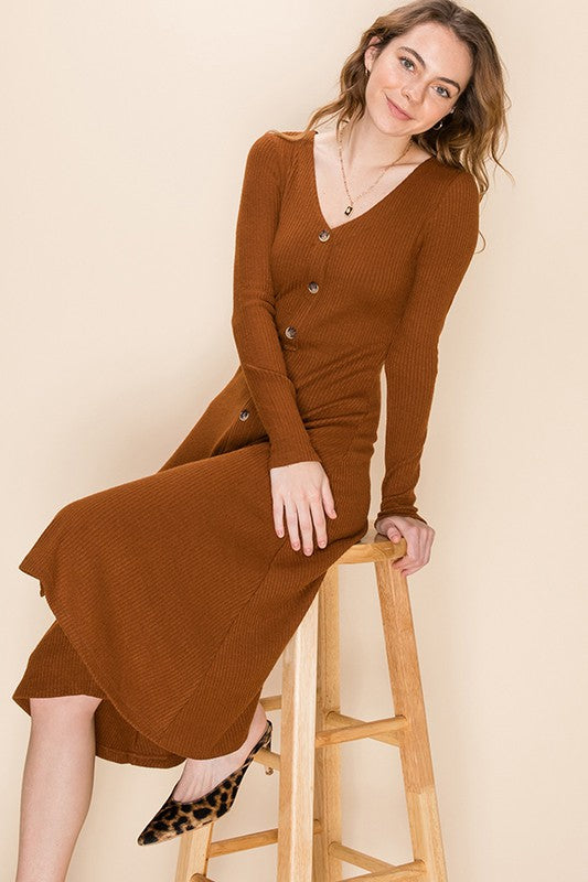 Aurelia Skater Midi Dress, Hazelnut