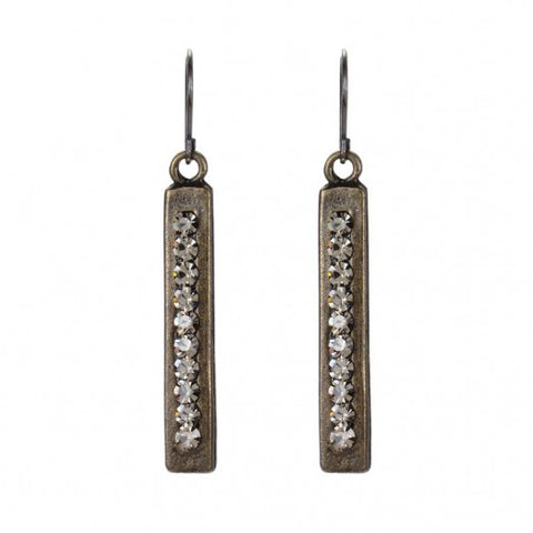 Rebel Designs Rectangular Bar Drop Earring With Black Diamonds