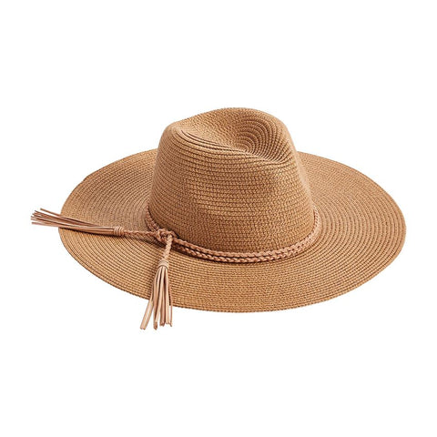 Braided Tassel Fedora, Tan
