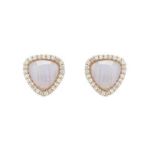 Rena Triangle Studs – Blue Lace Agate