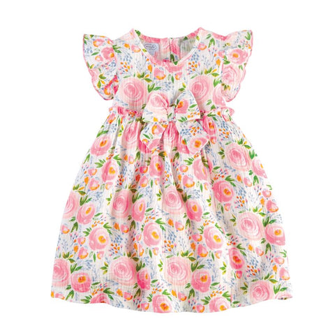 Pink Rosebud Dress & Bloomer Set