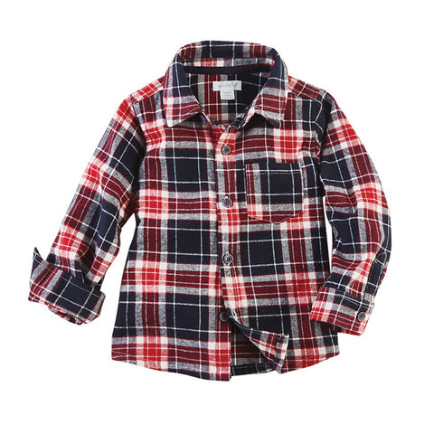 Red Plaid Flannel Button-Down Shirt
