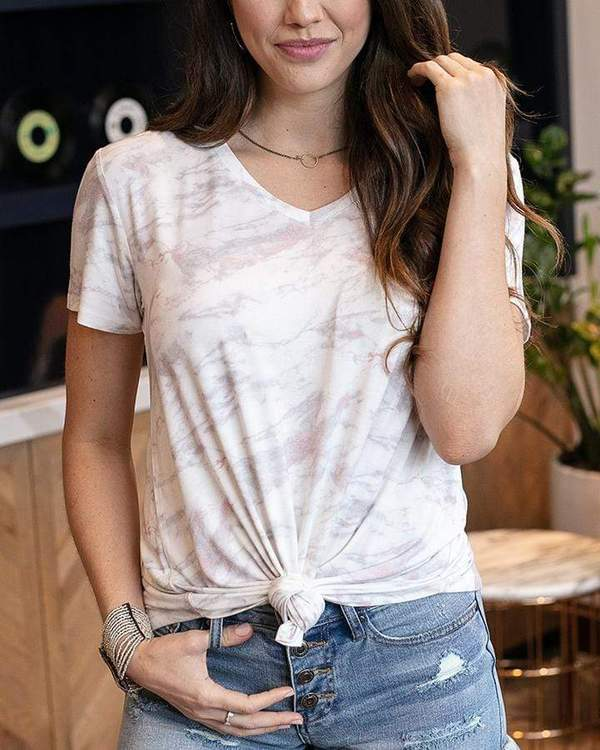 Short Sleeved Perfect V-Neck Tee by Grace & Lace, Marble Blush