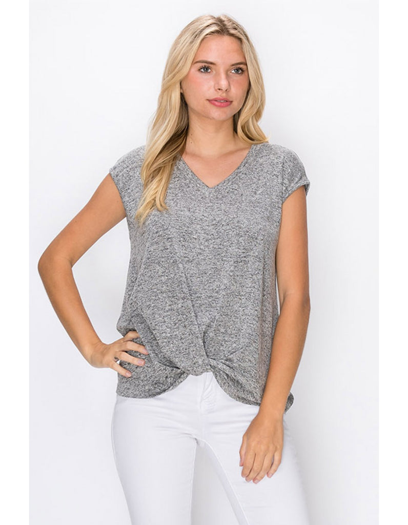 Sonia Twist Front Top, Heather Grey
