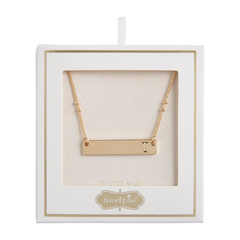 Initial Bar Necklace, T