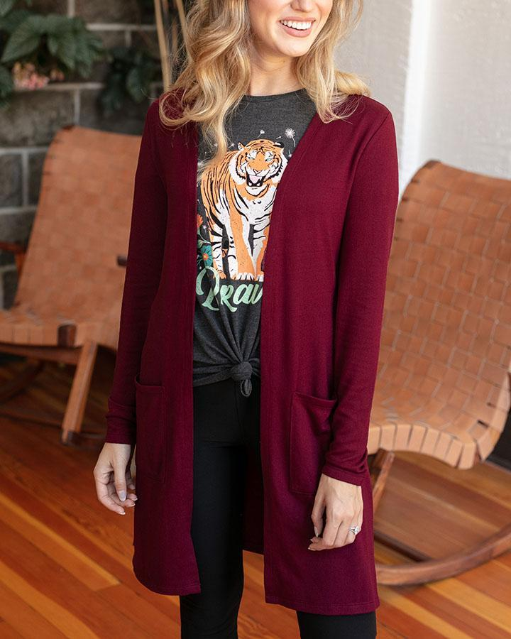 Casual Silky Soft Cardigan by Grace & Lace, Wine