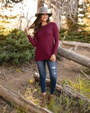 Long Sleeve Tunic by Grace & Lace, Wine