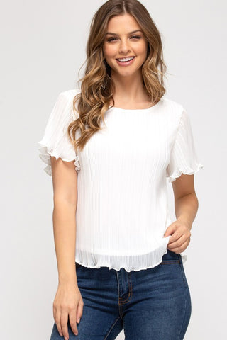 Philippa Plisse Top, Off White