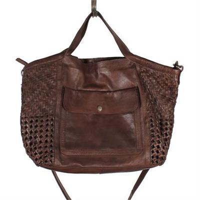 Sissy Brown Leather Woven Bag