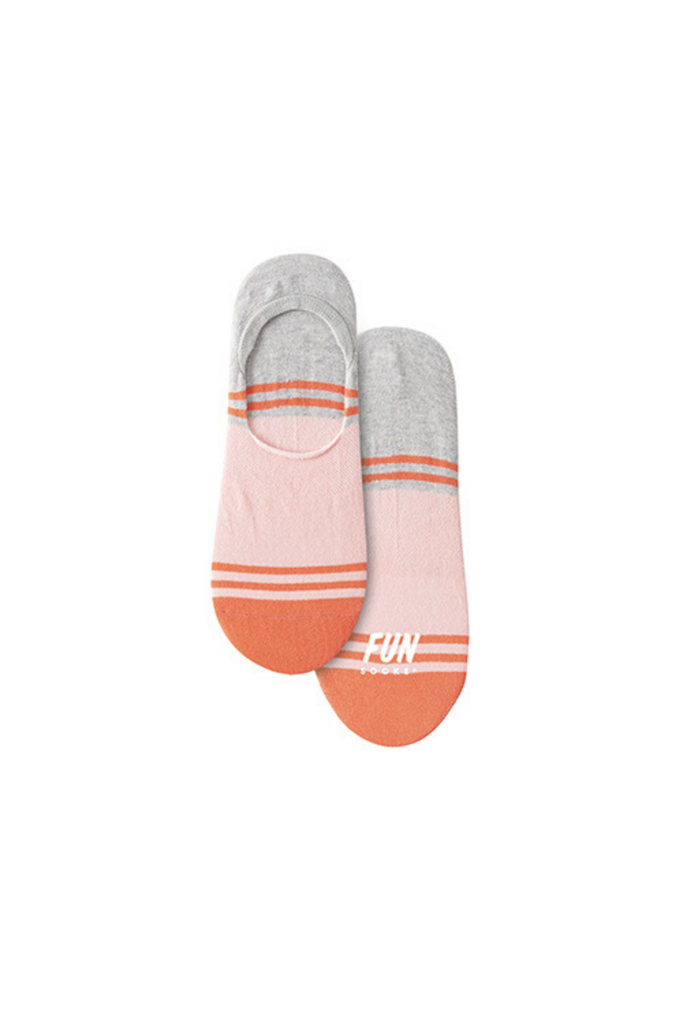 Fun Socks Striped Shoe Liner - Pink Combo