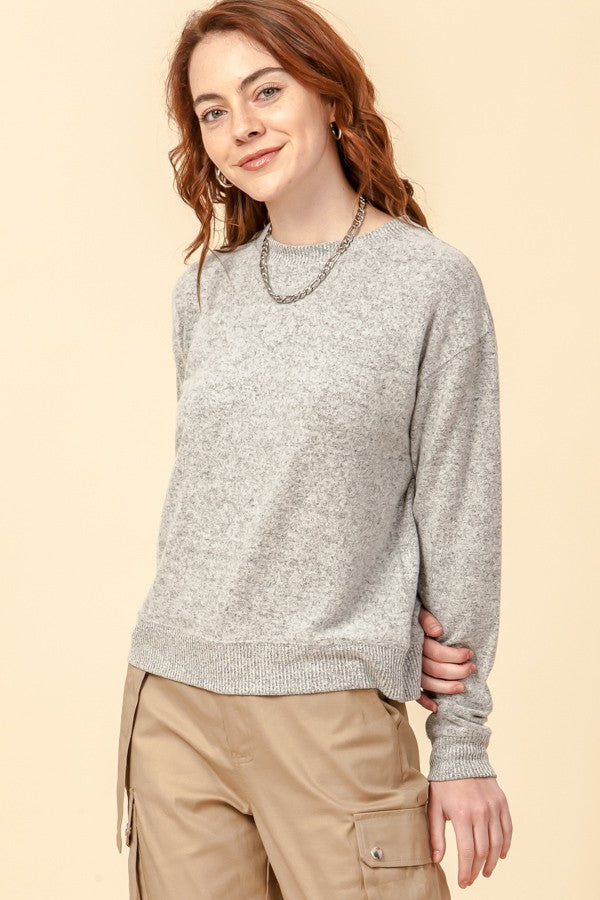 Cora Crew Neck Pullover, Heather Grey